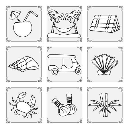 Thailand symbols set Vector illustration Cocktail, palm trees and hammock, pillow, seashell, tuk-tuk, bamboo, crab, herbal pouches for massage Vacation Travel Thai culture Traditions Design for print 向量圖像