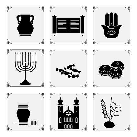 Vector illustration Jewish holiday Traditional symbols Torah scroll, oil jar, amulet hamsa, Menorah candles, candy, donuts, honey, synagogue, lemon Happy Hanukkah Sukkot Festive design for print