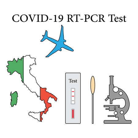 Vector illustration Carrying out RT PCR test to diagnose coronavirus infection. Italy People protect from covid-19 virus. Reducing risk of infection, prevention measures Medicine Design for print