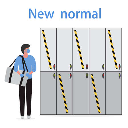 Vector illustration Locker room with safe lockers in sports club, fitness center New normal after COVID-19 pandemic Cells for storage Reducing risk of infection, prevention measures Design for print