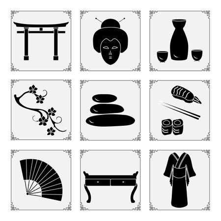 Symbols of Japanese culture Kimono, geisha face, sake set, torii ritual gates, sakura, stones massage, rolls sushi chopsticks, table, fan Japan Traditions Oriental elements Set Travel Design for print