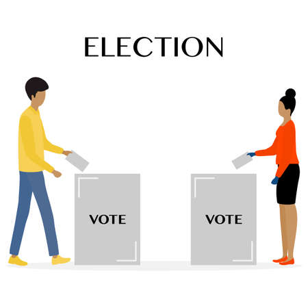 Voting Vector illustration Election day People throw ballot into ballot box. People give their vote for candidate. Political campaigning Supporters of Party Election campaign Presidential election