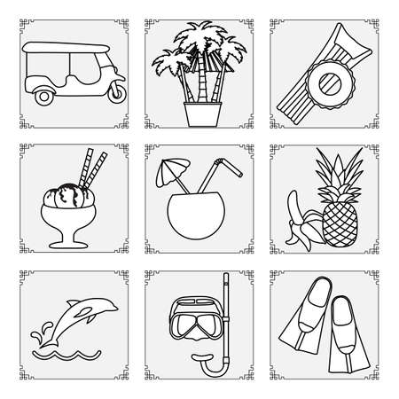 Thailand symbols set Vector illustration Tuk-tuk, palm trees, inflatable ring, mattress, ice cream, cocktail, banana, pineapple, dolphin, mask, tube, fins. Vacation Travel Thai Summer rest.