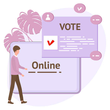Vector illustration People vote online for candidate on tablet Election campaign Online choices Political competition Presidential election Concept of online voting, e-voting, election internet system