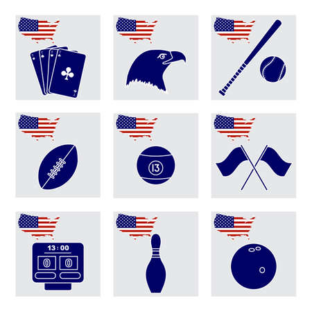 Vector Illustration USA set American national symbols Playing cards, eagle head, baseball bat, rugby, billiard ball, scoreboard, flags, bowling pin, bowl. Popular sports America Design for print