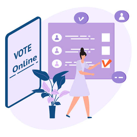 Vector illustration People vote online for candidate on phone Election campaign Online choices Political competition Presidential election Concept of online voting, e-voting, election internet system