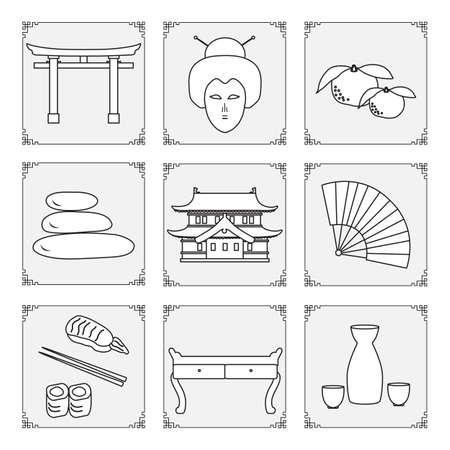 Symbols of Japanese culture Geisha face, sake set, torii ritual gates, stones massage, rolls sushi chopsticks table fan tangerines castle Japan Traditions Oriental elements Set Travel Design for print