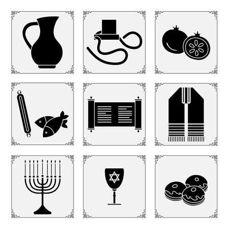 Vector illustration Jewish holiday Traditional symbols Menorah candles Torah scroll tefillin jug of oil, fish, donuts Judea's ritual clothing, pomegranate Happy Hanukkah Rosh Hashanah Design for print