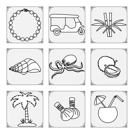 Thailand symbols set Vector illustration Pearl necklace, tuk-tuk, bamboo, shell, octopus, palm tree, herbal pouches for massage, exotic fruits durian, cocktail Vacation Travel Thai culture Traditions