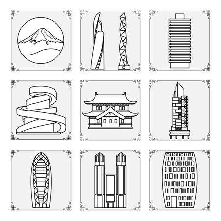 Symbols of Japanese culture Mount Fuji, unusual Japanese architecture. Japan country Oriental elements Set Famous building, skyscrapers. Travel and leisure. Design for print Ilustração Vetorial