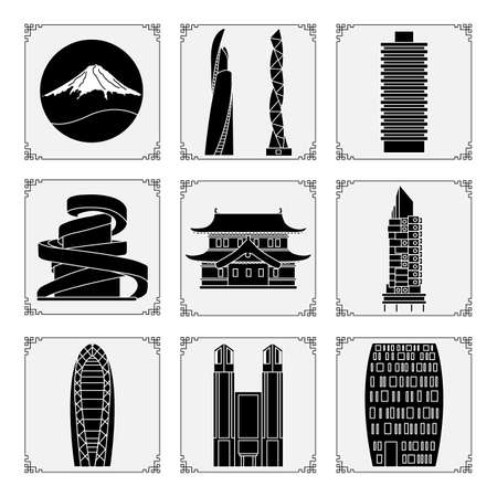 Symbols of Japanese culture Mount Fuji, unusual Japanese architecture. Japan country Oriental elements Set Famous building, skyscrapers. Travel and leisure. Design for print