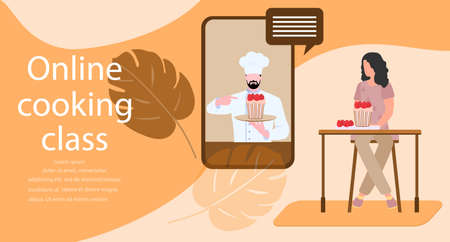 Vector illustration Cooking Online master class Woman cooking at home while streaming online lesson Culinary video channel, blog with chef preparing homemade meal Stay home Cook healthy food by recipe Иллюстрация