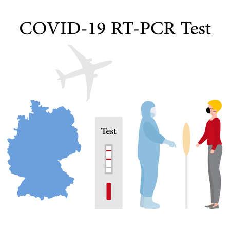 Vector illustration Carrying out RT PCR test to diagnose coronavirus infection. Germany People protect from covid-19 virus. Reducing risk of infection, prevention measures Medicine Design for print