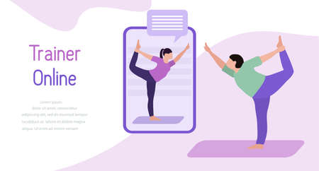 Vector illustration Training with an online trainer Sport fitness training at home Online sports activities Healthy Active lifestyle Yoga for everyone Balance training Fitness blog Workout app concept Иллюстрация