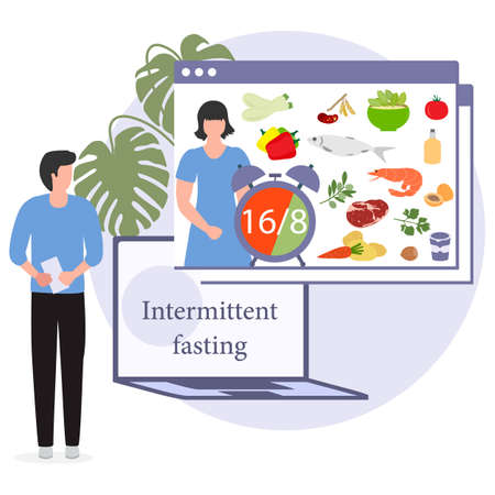 Vector illustration Nutrition Consultant Online explains Intermittent Fasting method 16/8, time-restricted eating to human Healthy lifestyle proper nutrition Diet food Weight loss Design for web print