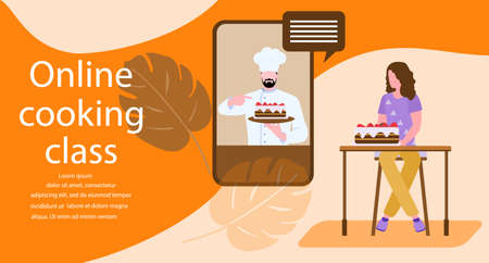 Vector illustration Cooking Online master class Woman cooking at home while streaming online lesson Culinary video channel, blog with chef preparing homemade meal Stay home Cook healthy food by recipe