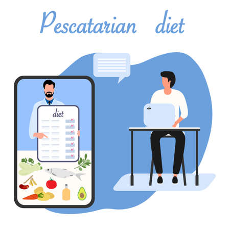 Vector illustration Nutrition Consultant Online explains Pescatarian diet to human. Organic Meal planning. Vegetarian diet food. Healthy lifestyle proper nutrition. Weight loss. Design for web print