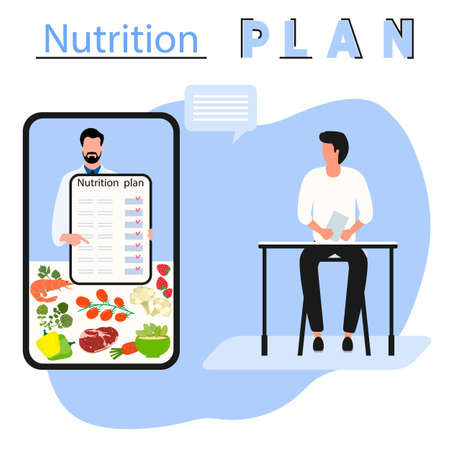 Vector illustration Nutrition Consultant Online explains diet to human. Proper nutrition. Organic Meal planning. Diet food. Healthy lifestyle concept. Eating habits. Weight loss. Design for web, print Ilustração