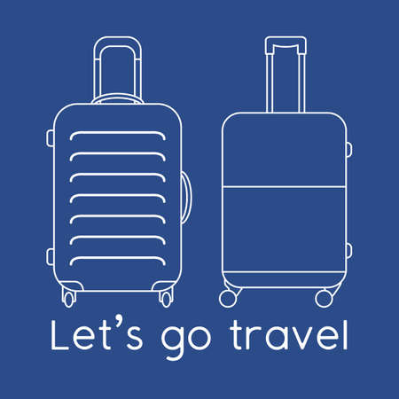 Vector illustration Suitcases isolated on color background. Let's go travel. Summer time, vacation, holiday, leisure. Concept for travel agency, booking service. Design for web page, print