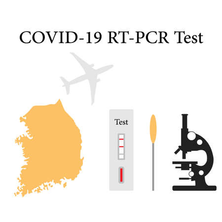 Vector illustration Carrying out RT PCR test to diagnose coronavirus infection. South Korea People protect from covid-19 virus Reducing risk of infection, prevention measures Medicine Design for print