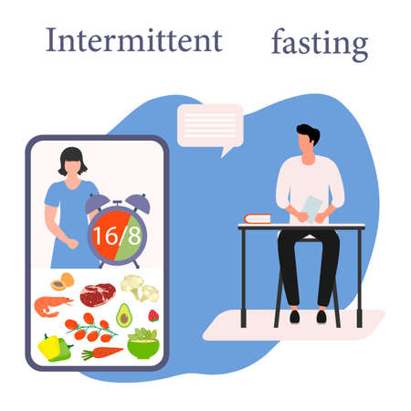 Vector illustration Nutrition Consultant Online explains Intermittent Fasting method 16/8, time-restricted eating to human Healthy lifestyle proper nutrition Diet food Weight loss Design for web print Vektoros illusztráció