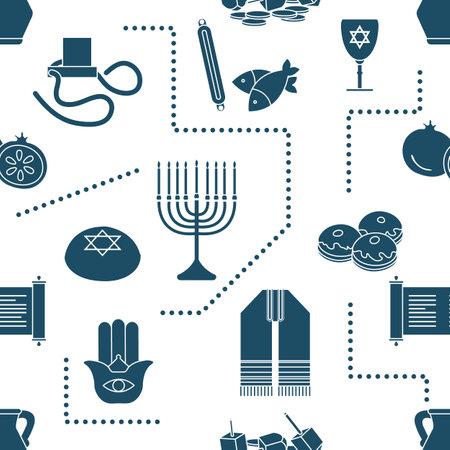Vector Seamless pattern Illustration. Jewish holiday Traditional symbols. Vektorové ilustrace