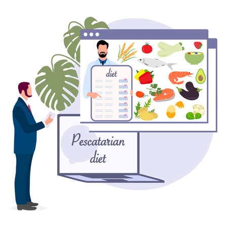 Nutrition Consultant Online explains Pescatarian diet to human. Organic Meal planning. Vegetarian diet food. Healthy lifestyle proper nutrition. Ilustração