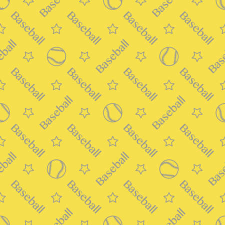 Vector seamless pattern with baseball balls and inscription baseball. Sports background. Design for banner, poster or print. Illuminating and Ultimate Gray.