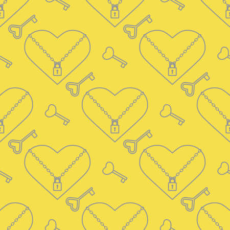 Vector seamless pattern Happy Valentine's Day Heart with chain on the lock, keys. Romantic background. Love, relationship, dating concept. Greeting card. Design for banner, poster or print. Illuminating and Ultimate Gray.