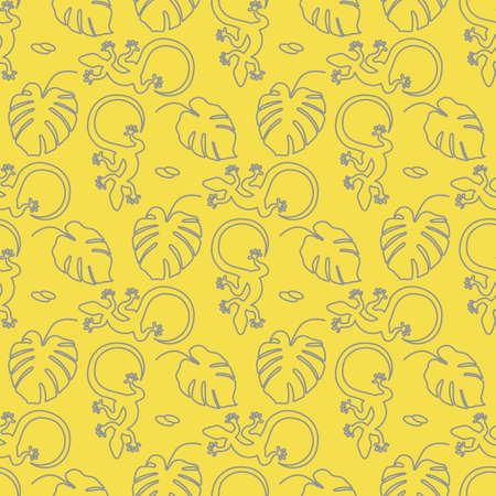 Vector Tropical seamless pattern Illustration Monstera leaves, lizard. Tropical plants Jungle wildlife. Animal. Exotic. Summer background. Design for textile, clothing, print. Illuminating and Ultimate Gray. Illustration