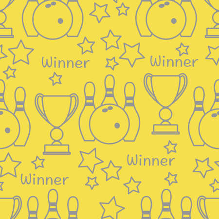 Seamless pattern with bowling pins and bowls, winner cup. Sports theme. Bowling Club Center Game, hobby, entertainment. Design for wrapping, fabric or print. Illuminating and Ultimate Gray. 向量圖像