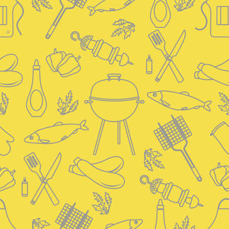 Seamless pattern with grill and barbecue tools. BBQ party background. Design for party card, banner, poster or print. Illuminating and Ultimate Gray.