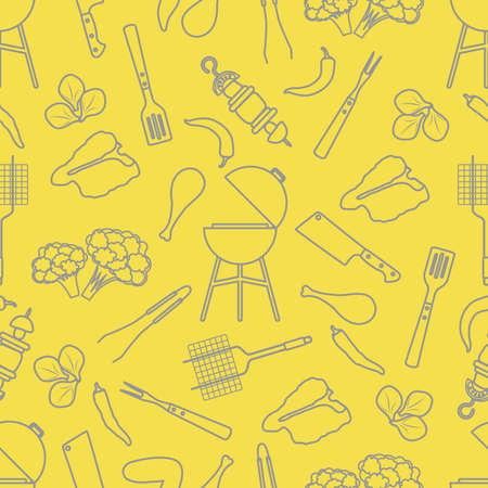 Seamless pattern with grill and barbecue tools, food. BBQ party background. Design for party card, banner, poster or print. Illuminating and Ultimate Gray.