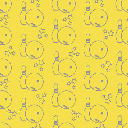 Seamless pattern with bowling pins and bowls. Sports theme. Games, hobbies, entertainment. Design for banner, poster or print. Illuminating and Ultimate Gray.