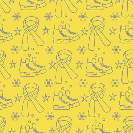 Vector seamless pattern Ice skates, scarf, snowflakes, stars. Winter holiday fun and entertainment concept. Ice skating rink. Sport. Design for packaging, fabric, print Illuminating and Ultimate Gray.