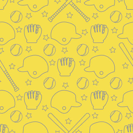 Vector seamless pattern with baseball bats, ball, helmet, baseball glove. Sports background. Design for banner, poster or print. Illuminating and Ultimate Gray. 向量圖像