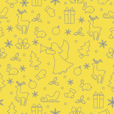 Merry Christmas Happy New Year background. Vector seamless pattern with angel, Santa Claus reindeer, gifts, Christmas sock, bells, hare, Christmas tree, ball, mistletoe, sled, mittens, snowflakes Illuminating and Ultimate Gray. 向量圖像