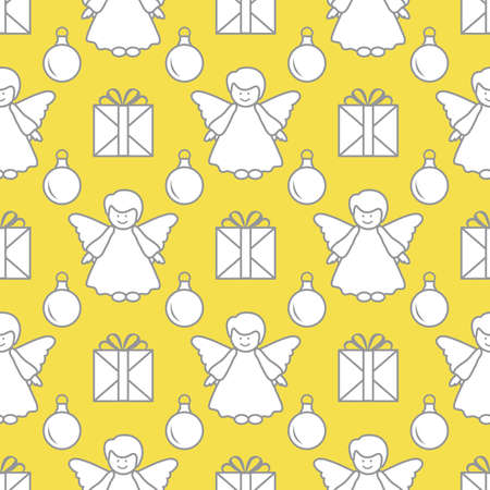 Happy new year, Merry Christmas vector seamless pattern with angel, Christmas balls, gifts. Design for wrapping, fabric, print. Illuminating and Ultimate Gray.