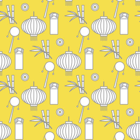 Vector seamless pattern with paper lantern, coin for luck, envelope, bamboo. Holiday traditions, symbols New Year celebration. Culture of. Happy new year Design for fabric, print. Illuminating and Ultimate Gray.