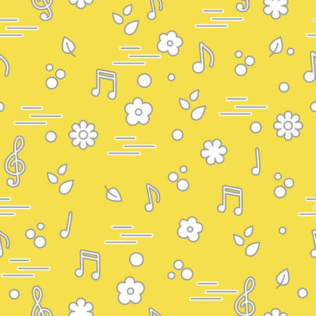 Seamless pattern of notes, flowers, leaves. Template for design, fabric, print. Illuminating and Ultimate Gray.