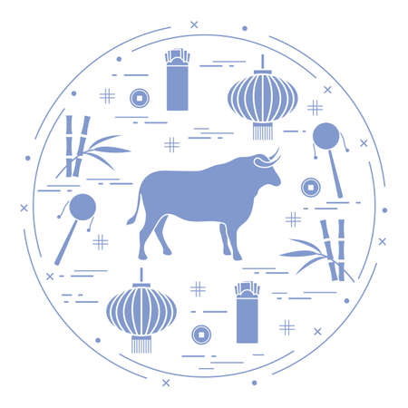 Happy New Year Vector illustration ox, bamboo, Chinese lantern, coin for luck, envelope, rattle drum. Holiday traditions, symbols Chinese New Year celebration. Bull zodiac sign, symbol of 2021 year  イラスト・ベクター素材