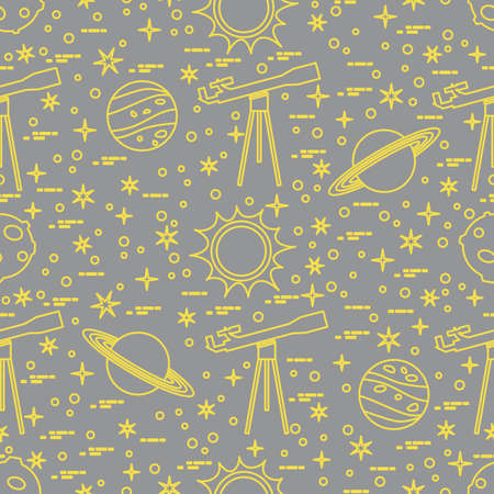 Seamless pattern with telescope, sun, planets, stars. Space exploration. Astronomy. Science Illuminating and Ultimate Gray.