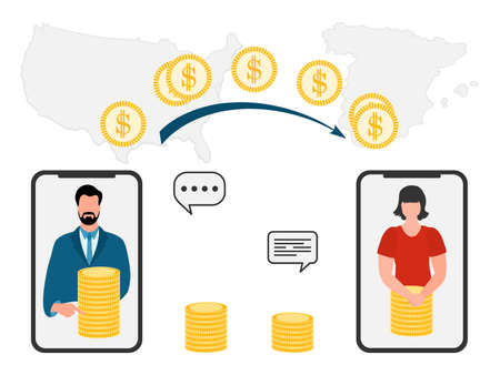 Vector illustration Mobile money transfer Online around the world Financial operations in online banking. People sending money from smartphone. Financial symbols. Map of United States, Spain