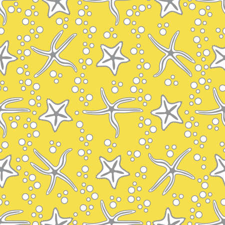 Vector seamless pattern with starfish. Marine background. Design for banner, poster or print. Illuminating and Ultimate Gray.