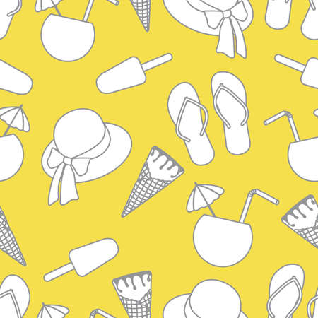 Vector travel seamless pattern Illustration with sun hat, ice cream, cocktail, flip flops. Summer time, vacation, holiday, leisure background. Concept for travel agency. Design wrapping, fabric, print Illuminating and Ultimate Gray.  イラスト・ベクター素材