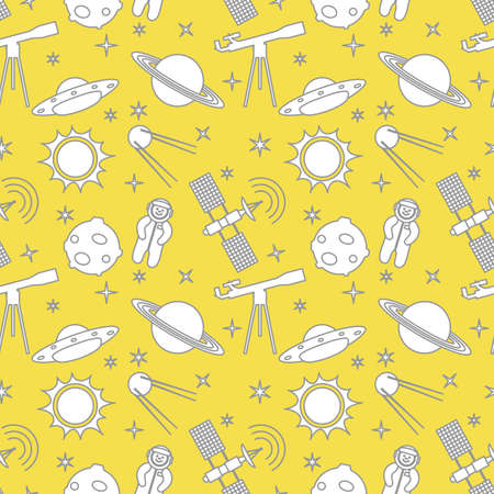 Seamless pattern with telescope, UFO, satellite, planets, astronaut, orbital station, sun, stars. Space exploration. Astronomy. Science. Illuminating and Ultimate Gray.