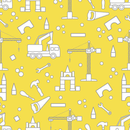 Vector seamless pattern with kid toys. Excavator, crane, toy tools, saw, hammer, wrench, screwdriver. Primary school, elementary grade, kindergarten. Happy childhood activity Design for textile, print Illuminating and Ultimate Gray.  イラスト・ベクター素材