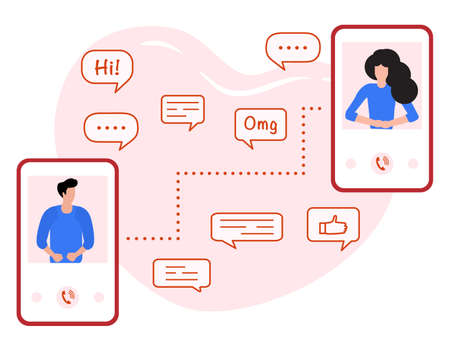 Vector illustration Communication with person. People talking on the phone. Dialogue speech bubbles. Man and woman calling by smartphone. Phone call, speaking social, chatting. Design for web, print