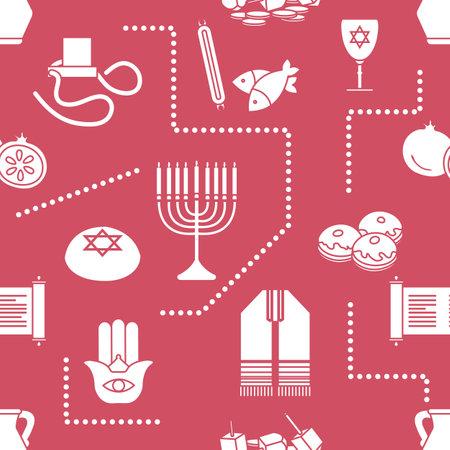 Vector Seamless pattern Illustration Jewish holiday Traditional symbols Torah scroll, oil jar, pomegranate Amulet hamsa, menorah, kippah, tefillin, Talith, Dreidel, Fish, donuts Festive design Print  イラスト・ベクター素材