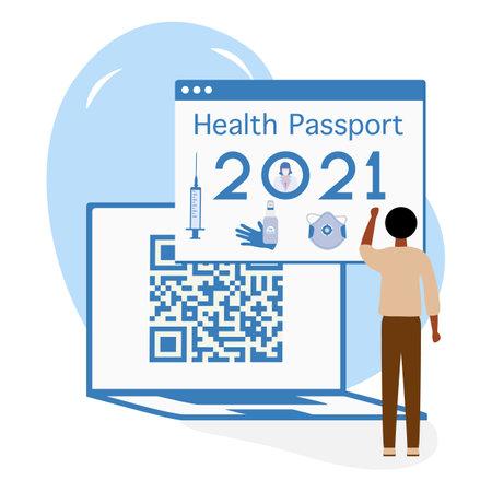 Vector illustration 2021 People Health Passport Syringe Mandatory Covid Test New normal after COVID-19 pandemic Test for coronavirus infection Immunity Passport QR code Medicine Design for web, print